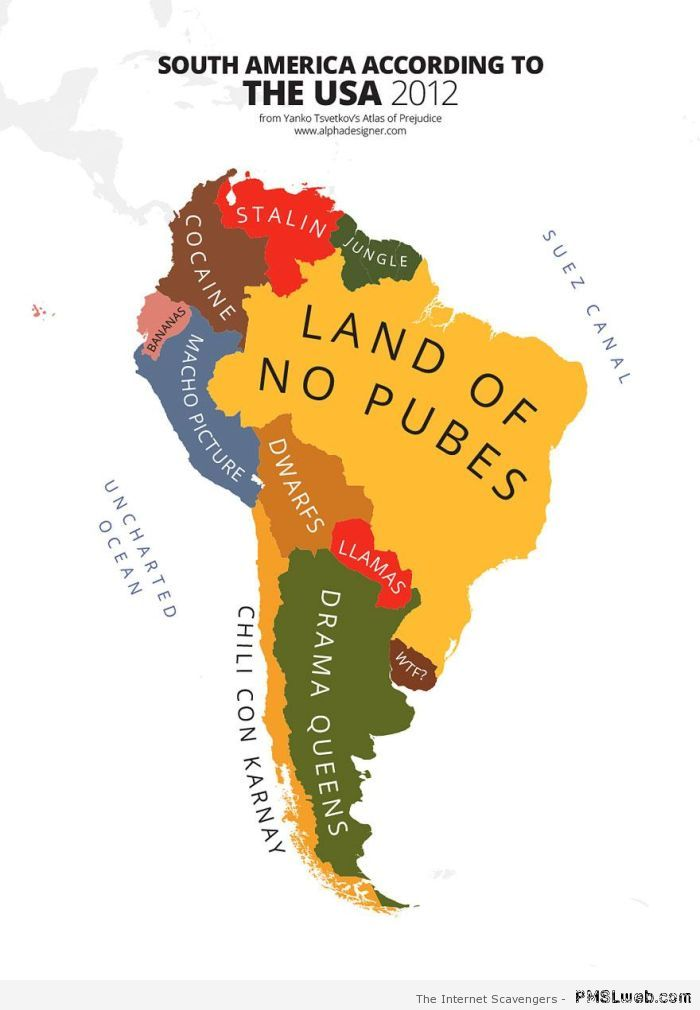 South America seen by the USA