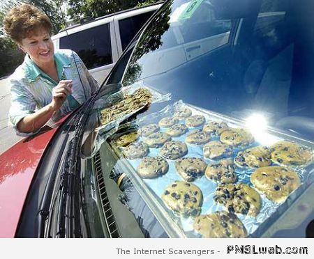 baking cookies in the car