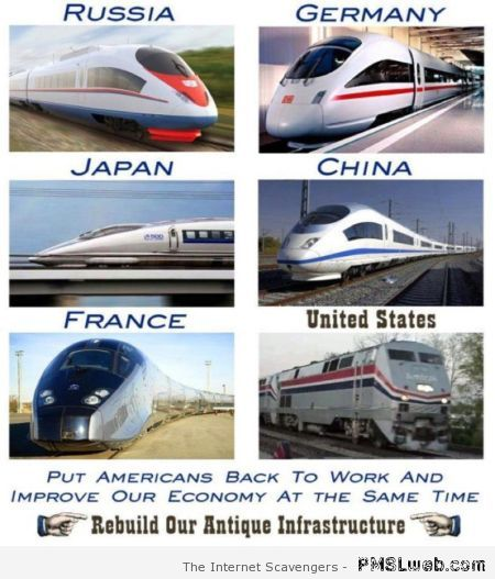 Trains in USA humor