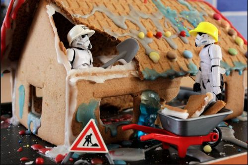 troopers building a house