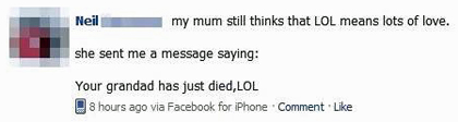 facebook LOL means lots of love