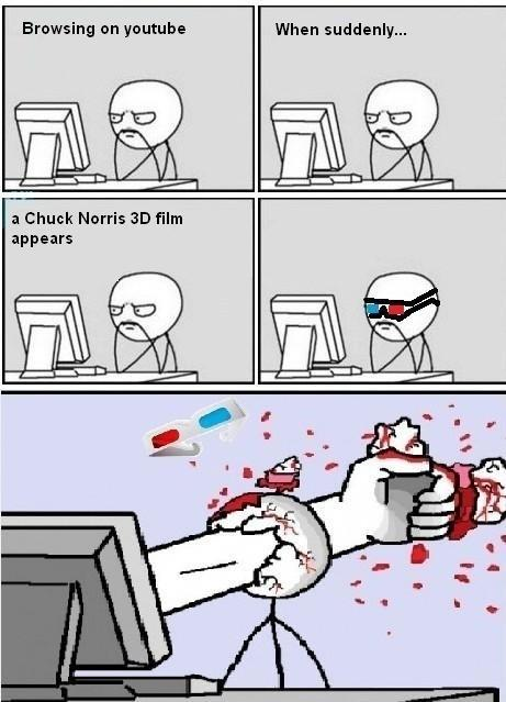 watching chuck norris in 3D