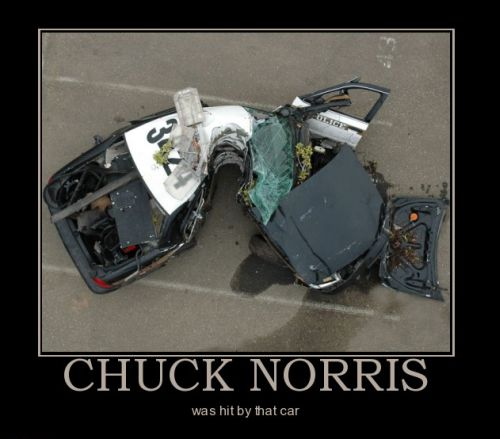 chuck norris damages car