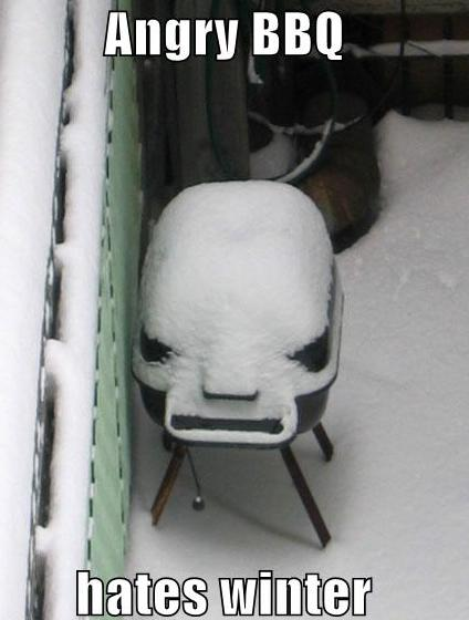 angry BBQ in the snow