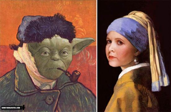 Yoda and leia as seen by Van Gogh