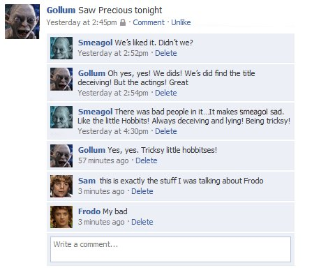 gollum on facebook