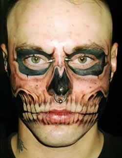 living dead face tattoo