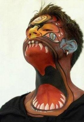 mouth tattooed on neck