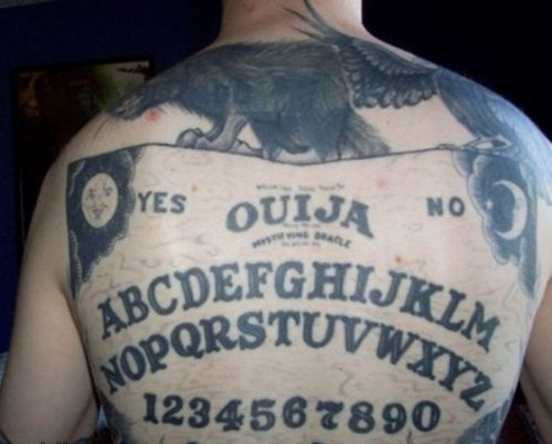 ouija board back tattoo