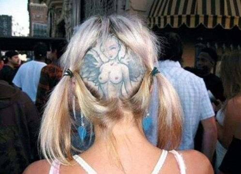 angel on shaved head tattoo