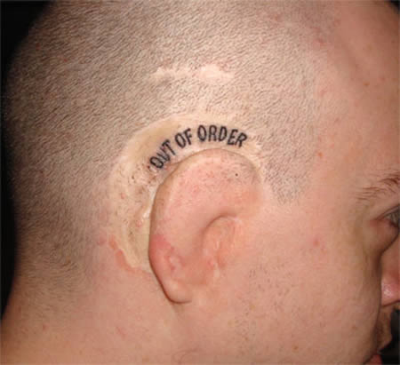 deaf out of order ear tattoo