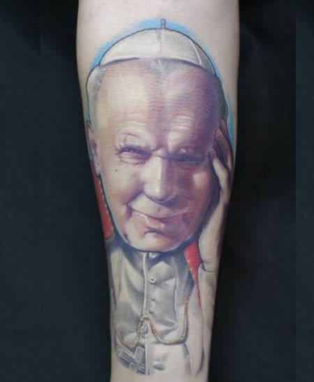 pope JP II tattoo