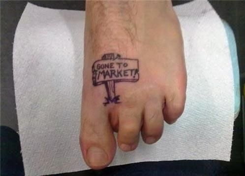 pig gone to the market missing toe tattoo