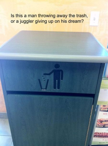 Is this a garbage bin or a juggler giving up