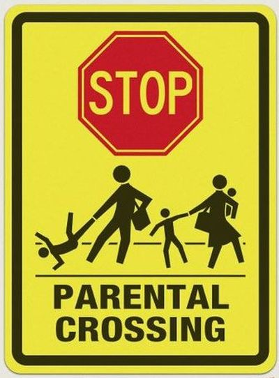 funny parental crossing sign