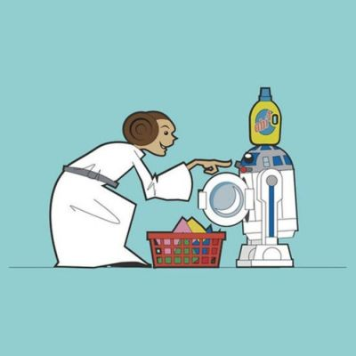leia doing washing in r2d2
