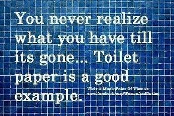 you never realize what you have until it's gone toilet paper