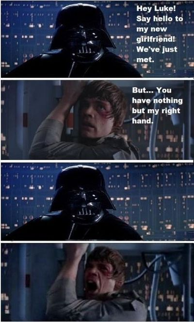 luke and darth right hand funny