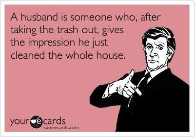 husband gives impression to have cleaned the whole house