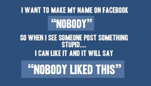 I want to make my name on facebook nobody