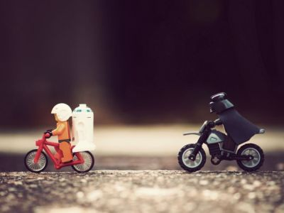 darth vador chasing luke on lego bike