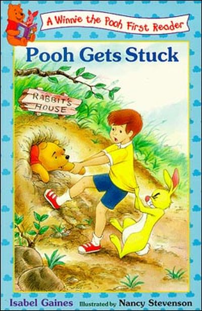 funny pooh gets stuck book