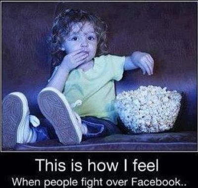 watching people fight on facebook
