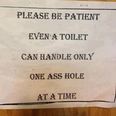 even a toilet can only handle one a-hole at the time