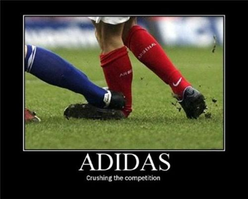 football  demotivational adidas foot crush