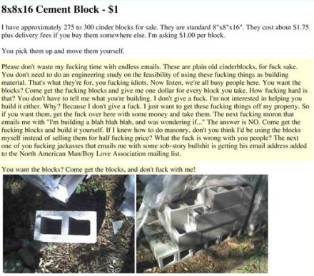 funny cement blocks on craigslist