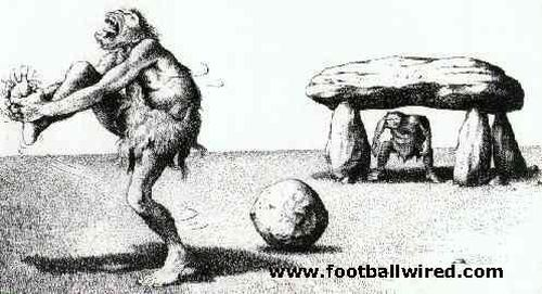 Prehistoric football rock cartoon