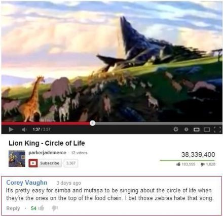 Funny Lion king song comment on youtube