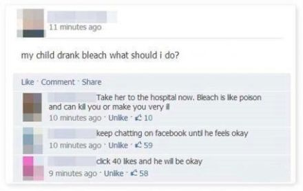 My child drank bleach, lets post on facebook