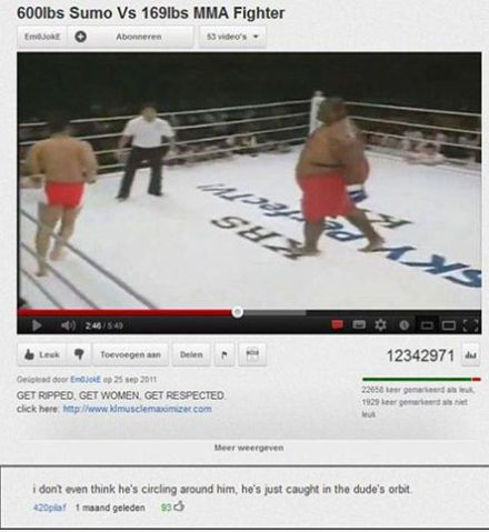 wrestler in orbit funny youtube comment