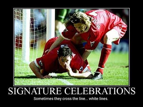 football demotivational funny signature celebration