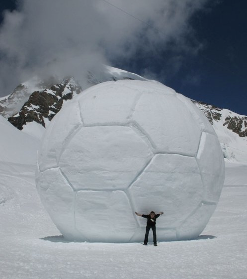 football funny giant snowball