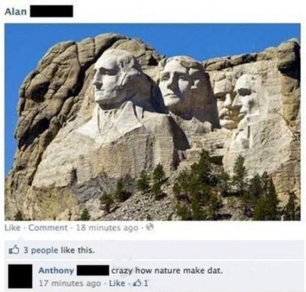 Mount Rushmore facebook post fail