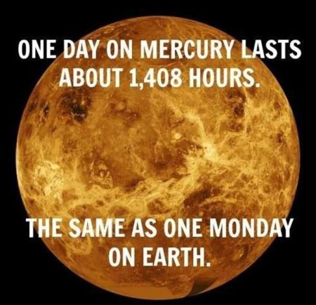 The same as one Monday on earth