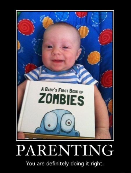 Baby's first book on zombies demotivational