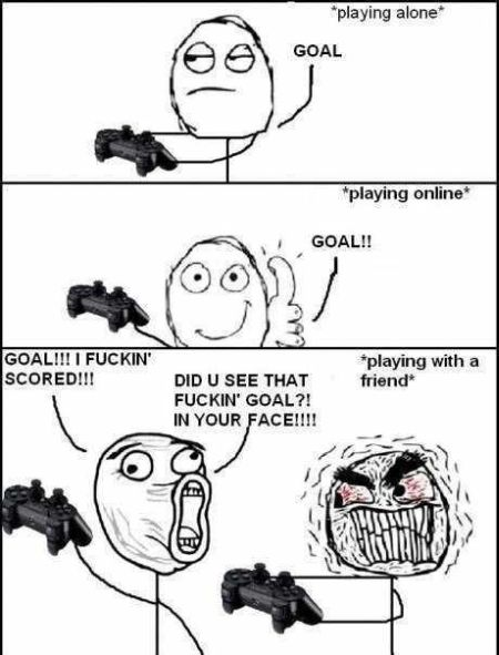 football video game meme when you play with a friend
