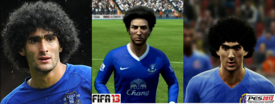 Fellaini graphics compare FIFA vs PES