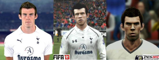 Gareth Bale graphics compare FIFA vs PES