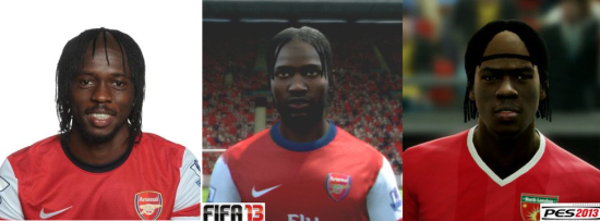 Gervinho graphics compare FIFA vs PES