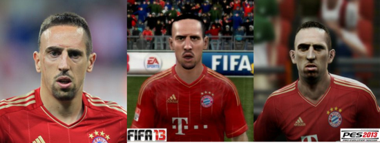 Ribery graphics compare FIFA vs PES