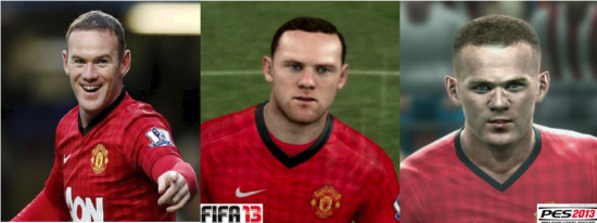 Wayne Rooney graphics compare FIFA vs PES
