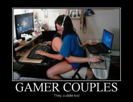 gamers couple cuddle funny
