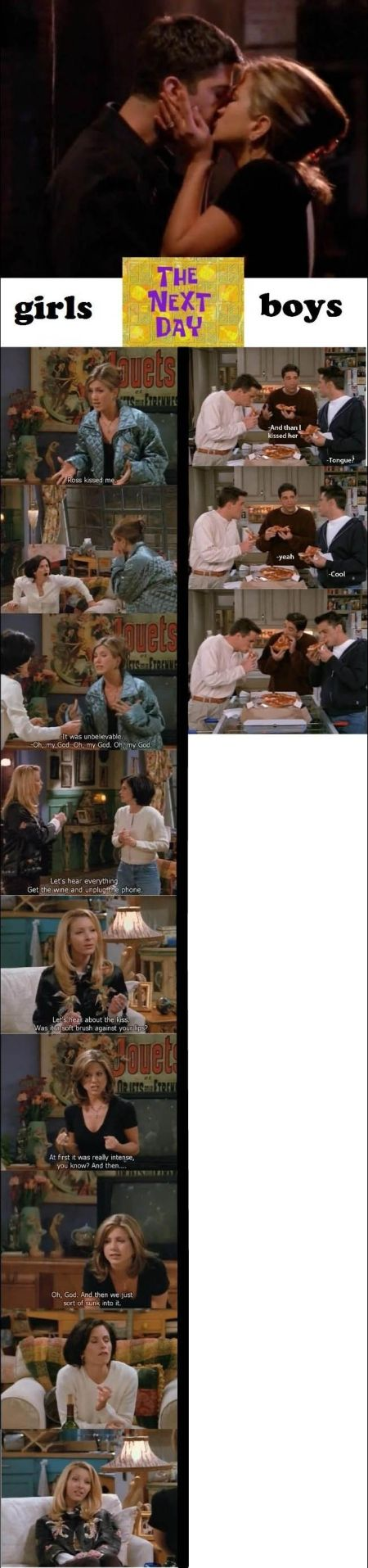 friends compare men and women after kiss