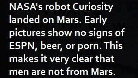 Nasa's robot curiosity landed on Mars funny men quote