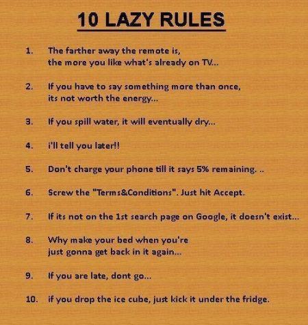 10 lazy rules