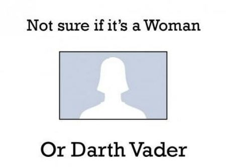 Not sure if it's a woman or Darth Vader